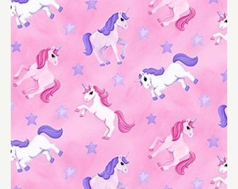 on SALE thru 8/1 LITTLE PRINCESS  Northcott cotton quilt fabric by the half yard tossed pink purple unicorns stars 20744-21