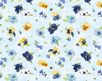 Walking On Sunshine-yellow  blue pansies on light blue by the 1/2 yard Wilmington fabric- flowers 79269-454