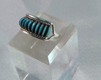 Renown Zuni Silversmith Edith Tsabetsaye Turquoise Needlepoint Sterling Ring