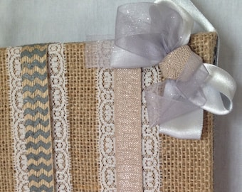 Trendy Burlap with Silver Hair Bow Holder
