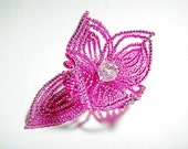 Pink Flower Floral Bloom French Beaded Fascinator - Sparkle Collection