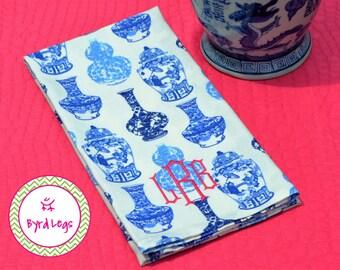 Chinoiserie Ginger Jar Tea Towel Monogrammed