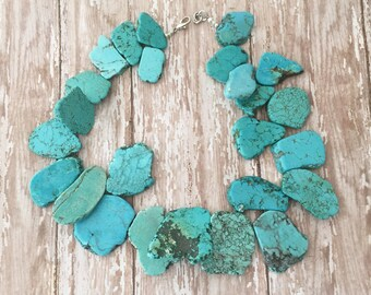 Turquoise Beaded Necklace, Chunky Turquoise Necklace, Turquoise and Silver Necklace, Turquoise Gold Necklace, Statement Necklace, Western