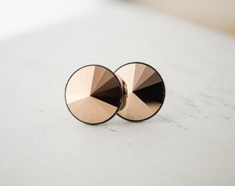 Swarovski Crystal Post Earrings | Rose Gold Pointed Round Rivoli Earrings | Stud Earrings