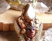 larimar moldavite goddess necklace
