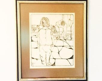 jack bilander vignette 1966 etching with professional framing ships free
