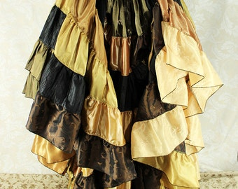 """Steampunk Gypsy Tiered Peacock Ruffle Skirt -- Black, Brown, & Gold -- Ready to Ship -- 40"""" Long, Fits up to 55"""""""