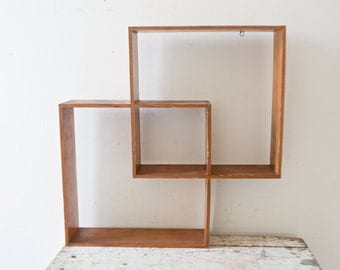 Vintage Wooden Geometric Shelf -  Shelves Vintage Shelves Vintage Shelf Decor Cube Shelves