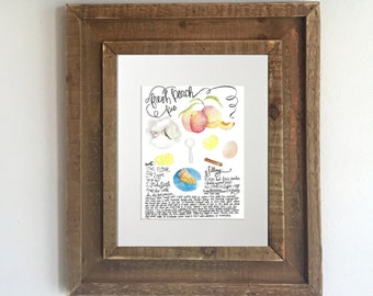 Custom Recipe Painting: Watercolor Recipe, Personalized Recipe Painting, Personalized Kitchen Decor, Kitchen Recipe Art
