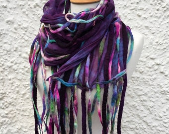 Dreadlock tendril scarf-Boho scarf-lagenlook -colourful  wool scarf- unique  Scarf- Autumn Scarf- Wool Scarf - winter scarf- multi coloured