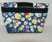 """Purse Insert Bag Organizer / Hand Carry Bag Made with """"Tsum Tsum - Chino Denim"""" with Cotton Boat Cloth Canvas Fabric"""
