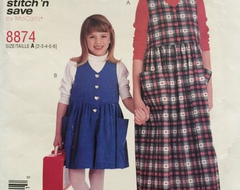 Stitch N Save 8874, Size 2-3-4-5-6, McCall's 8874 Children's Jumper and Romper Pattern, UNCUT, Loose Fitting, 1997, Casual Dress