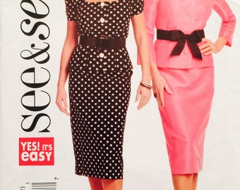 See and Sew B5169 Misses'/Misses' Petite Top and Skirt Pattern, UNCUT, Size 6-8-10-12, 2008, Two Piece Dress, Suit, Easy to Sew