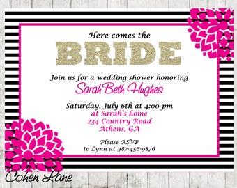 Printable Wedding Shower Invitation.  Bridal Shower.  Bridal Lunch.  Baby Shower Invitation. Glitter Bridal Shower Invite.