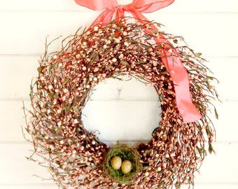 Spring Wreath-Spring Door Wreath-Easter Door Wreath-PINK BERRY WREATH-Summer Door Wreaths-Gift for Mom-Country Chic Decor-Scented Wreath