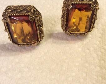 Vintage Glass Honey/Amber Cip Earrings
