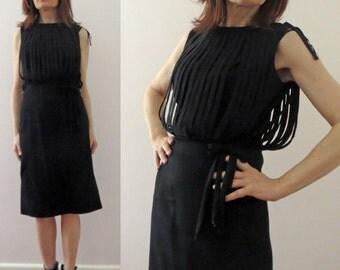 Vintage 60s Black Lantern Rouleaux Bodice Shealth Wiggle Dress Small