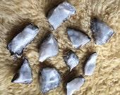 10 White Geode Quartz Crystal Chunks Jewelry Supply Druzy Slice Rough Cut Rock Specimen Set Pieces Lot