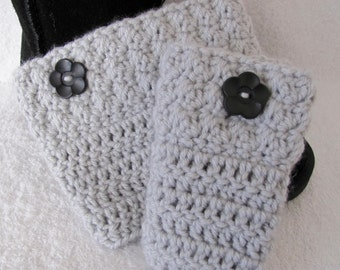 """Light Grey Women/Teen Boot Cuffs Hand Crocheted with Cute Black Flower Button Quality Acrylic """"I Love This Yarn"""" Light Silver Boot Toppers"""