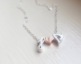 Letter Necklace Initials Heart Rose Gold Silver Couples Love Cursive Personalized Jewelry Anniversary Wedding Shower Gift for Her