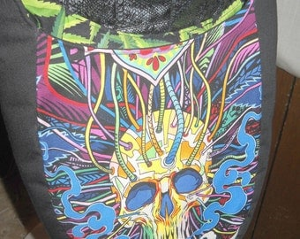 """Small India Hobo / Sling Bag, Cross Body, Alexander Henry """"Herb"""" and """"Elevated"""" Fabric, Swoon Patterns, Reversible. Dead Head"""