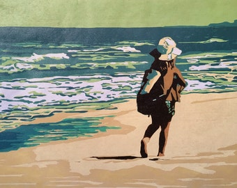 Beachcomber, original woodblock print from a limited edition