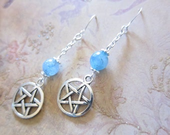 Aquamarine Blue Quartz Gemstone Pentagram Silver Chain Earrings TCJG