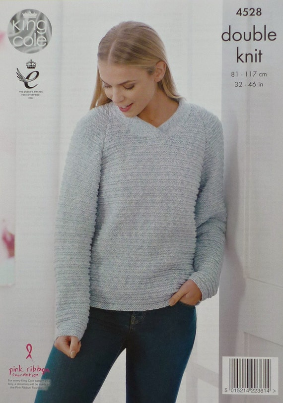 Knitting Pattern Ladies V Neck Jumper : Womens Knitting Pattern K4528 Ladies Long Sleeve V-Neck Jumper