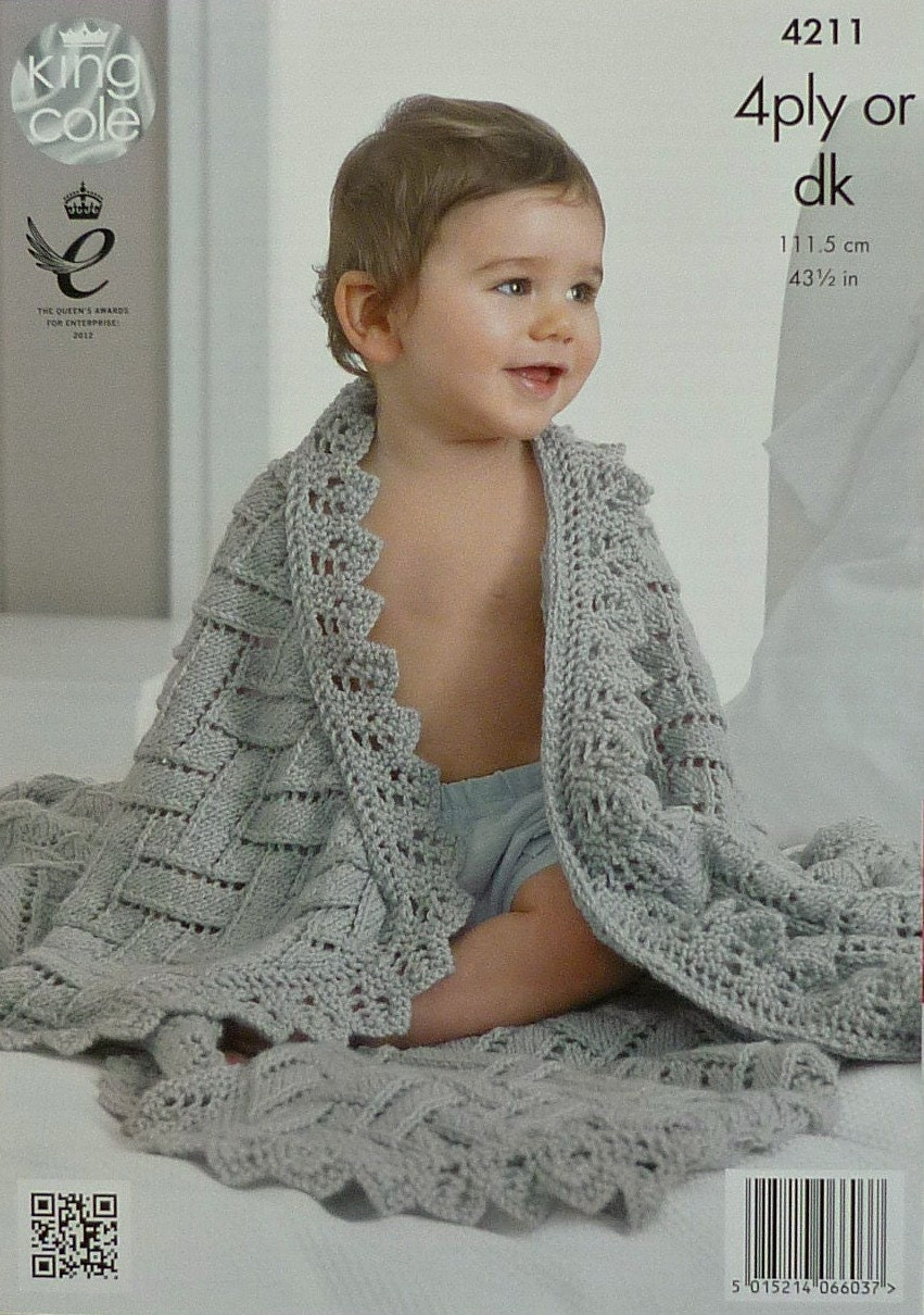 Free Knitting Patterns For Baby Shawls In Dk : Baby Blanket Knitting Pattern K4211 Babies Easy Lace Shawl/Blanket Knitting P...