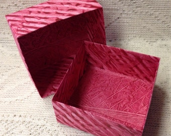 Origami Masu Paste Paper Box-Red Patterned