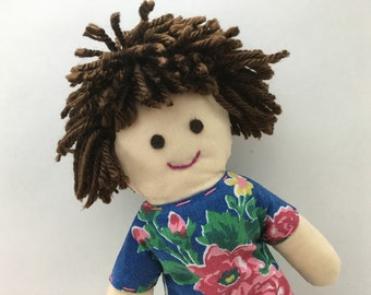 DOTTIE--cloth doll in blue floral dress--light skin, dark brown hair, brown eyes (FREE shipping in USA)