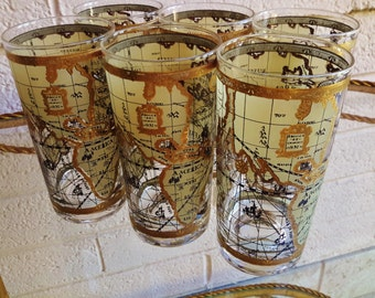 WORLD ATLAS MAPS Barware HiBall Glasses Rich Opulent Entertaining Set of 6 by Cera Glass HollyWood Regency Old Meets New