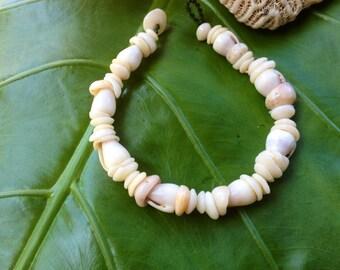 """Puka Shell Bracelet 8.5""""Hawaiian Shell Jewelry Cone Shell Beach Bracelet Kauai Puka Shell Bracelet Island Seashell Jewelry- Eco Friendly"""