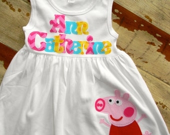 Peppa Pig Personalized Dress, Long Sleeved or Sleeveless, 3-6m to 8yrs