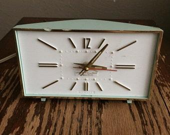 Vintage 1960s Westclox Electric Mid-Century Alarm Clock Mod Retro Home Decor Light / Baby Blue