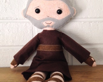 Catholic Doll - Saint Padre Pio - Wool Felt Blend - Catholic Toy - Felt Doll
