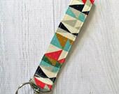 Aztec Key Fob. Southwest Key Chain. Fabric Aztec Wrist Strap Keychain. Wristlet Key Fob.
