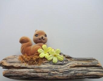 Vintage Squirrel Figure Driftwood Art 1960s