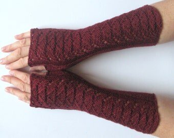 Burgundy Fingerless Gloves Claret Long Arm Warmers Mittens Soft Acrylic