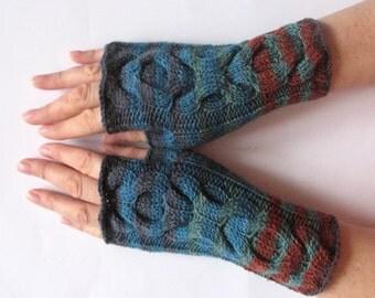 Fingerless Gloves Blue Brown Black Green wrist warmers