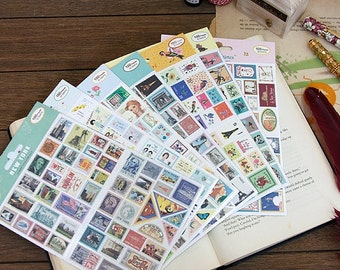 Kawaii Decoration Travel Attraction Theme Stamp Sticker(100pcs)
