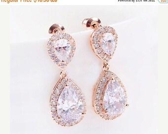 Bridal jewelry, Bridal earrings, Wedding earrings, Silver, Gold, Rose gold plated Cubic zircon crystal earrings, classic teardrop earrings