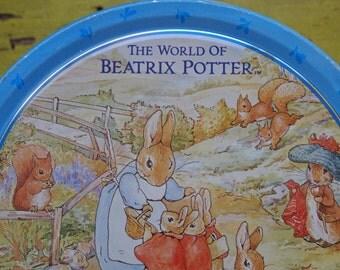 Beatrix Potter Tin, Vintage Cookie Tin, Vintage Graphic Tin, Tin Storage Box, Faux Wedgewood Tin, Embossed Tin, Hinged Tin, Storage Tin