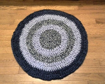 blue round crochet rag rug eco friendly upcycled 26 inches bathroom rug
