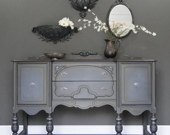 "SOLD***   Antique Buffet, Sideboard, Entry Table deep dark gray grey, Dark Stained Top ""Earl Gray"" Modern Vintage"