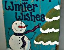Handmade Snowman Wood Sign | Custom Wood Snowman sign | snowman wood sign | snowmen wood sign | rustic wood sign | primitive snowman sign