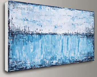 blue painting abstract painting Acrylic oil Textured impasto canvas wall home office interior decor palette knife white blue Art Visi