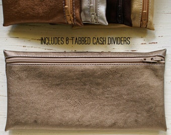 Fused leather cash envelope with 6 wallet dividers | old bronze