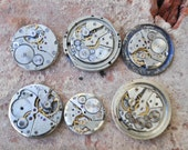 0.9 inch Set of 6 vintage watch movements.
