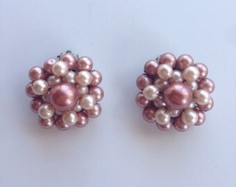 Shades of Bronze vintage cluster clip on earrings